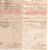 April 1935 deposit slips from bank statement for William I. Cochran, C.S.C. Note that the bank was Engelhard Banking & Trust Co., which later became the East Carolina Bank!