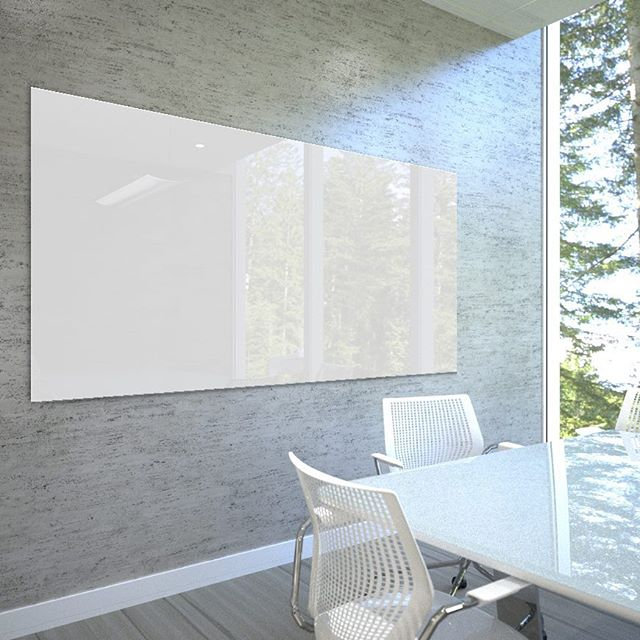 "Enhance your office space with Clarus glassboards. Pictured here is the ""Float + Depth"" variety -- the timeless original, featuring clean lines and invisible mounting. You'll have the option to customize the size, too!  #officespace #interiordesign #officefurniture #commercialinteriors #commercialspaces #commercialdesign #gulfcoastdesign #womanownedsmallbusiness #workspace #workflow #glassboards #clarus"