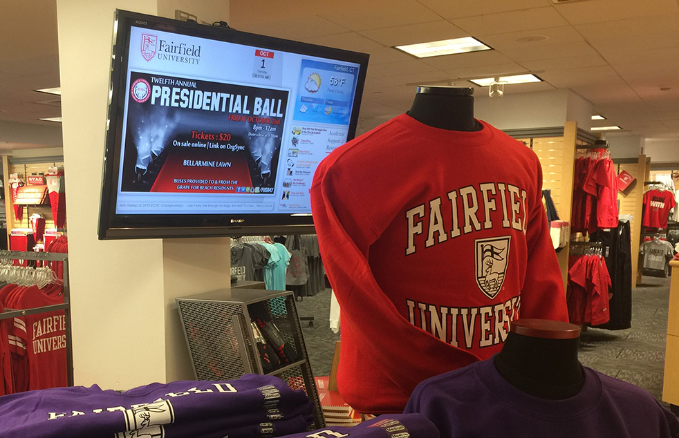 Fairfield University Digital Signage in Campus Bookstore