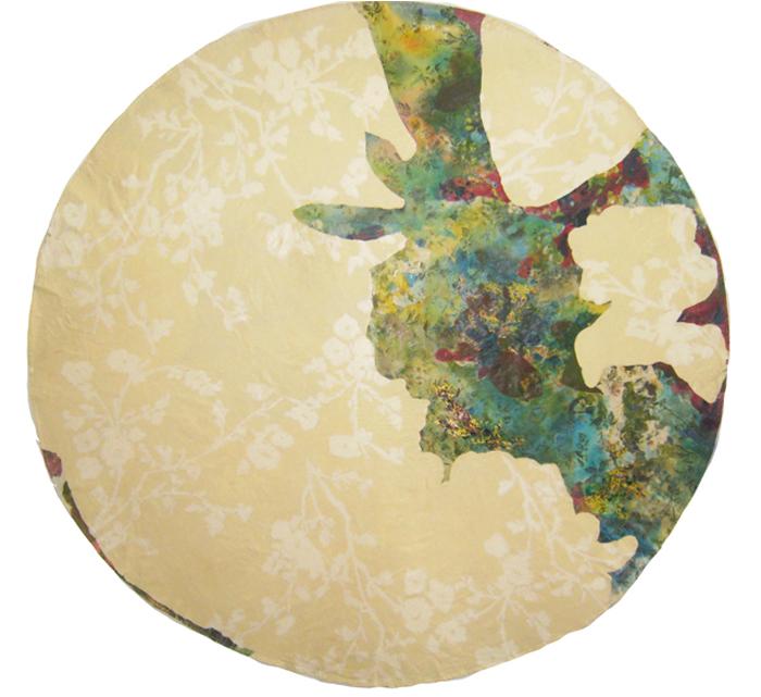 Acrylic, mixed media on cotton tablecloth, 70x179cm, 2011