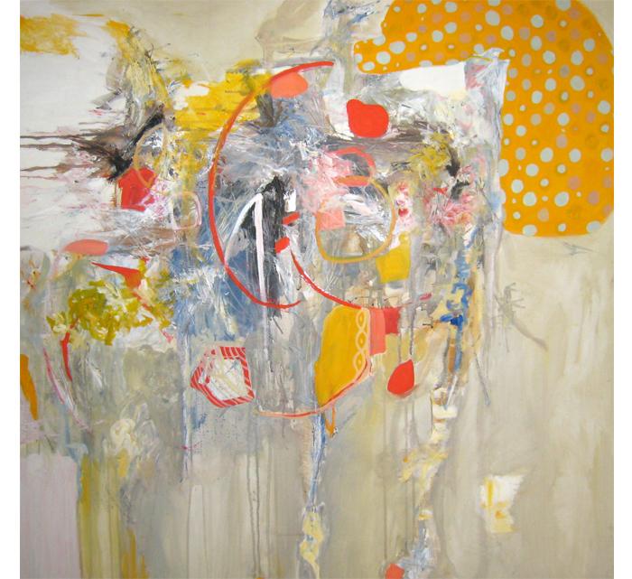 "Fabrication I , oil on canvas, 36""x36"", 2007. Kathryn Neale Studio."