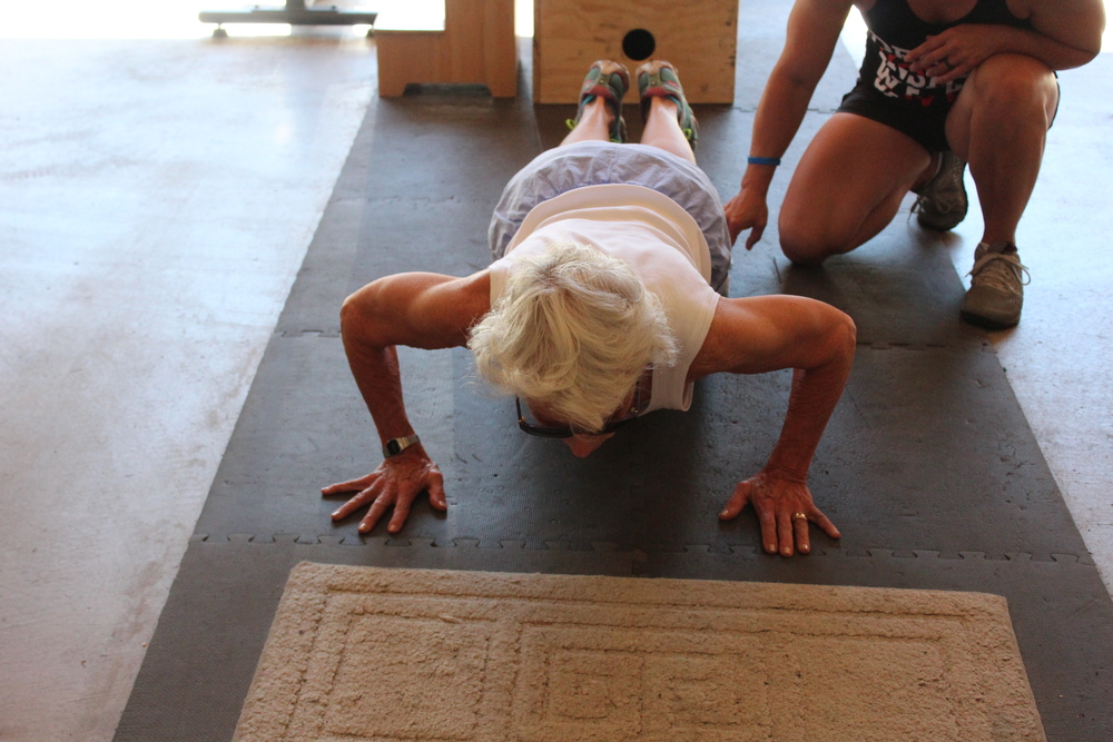 Masters Athlete Toni working on push ups