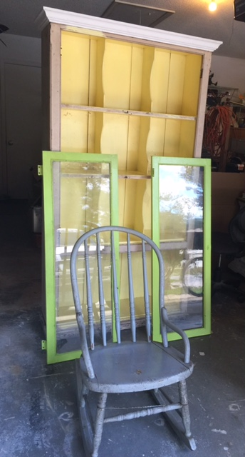 St. Johns County Furniture Refinishing | Rustic Farm House Cabinet U0026  Distressed Rocking Chair U2014 Rustic Revamp