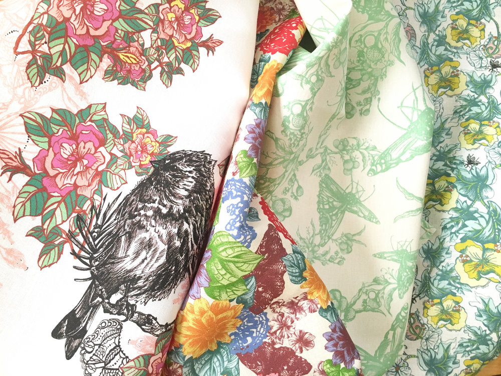 Detailed view of sustainable tea towel designs made by Janice Nelson in America