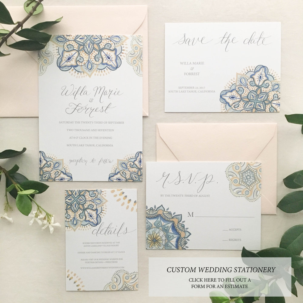 Janice Nelson Made in USA patterned wedding stationery with detailed indigo, cream, gold, henna design semi-custom watercolor wedding invitation custom wedding invite
