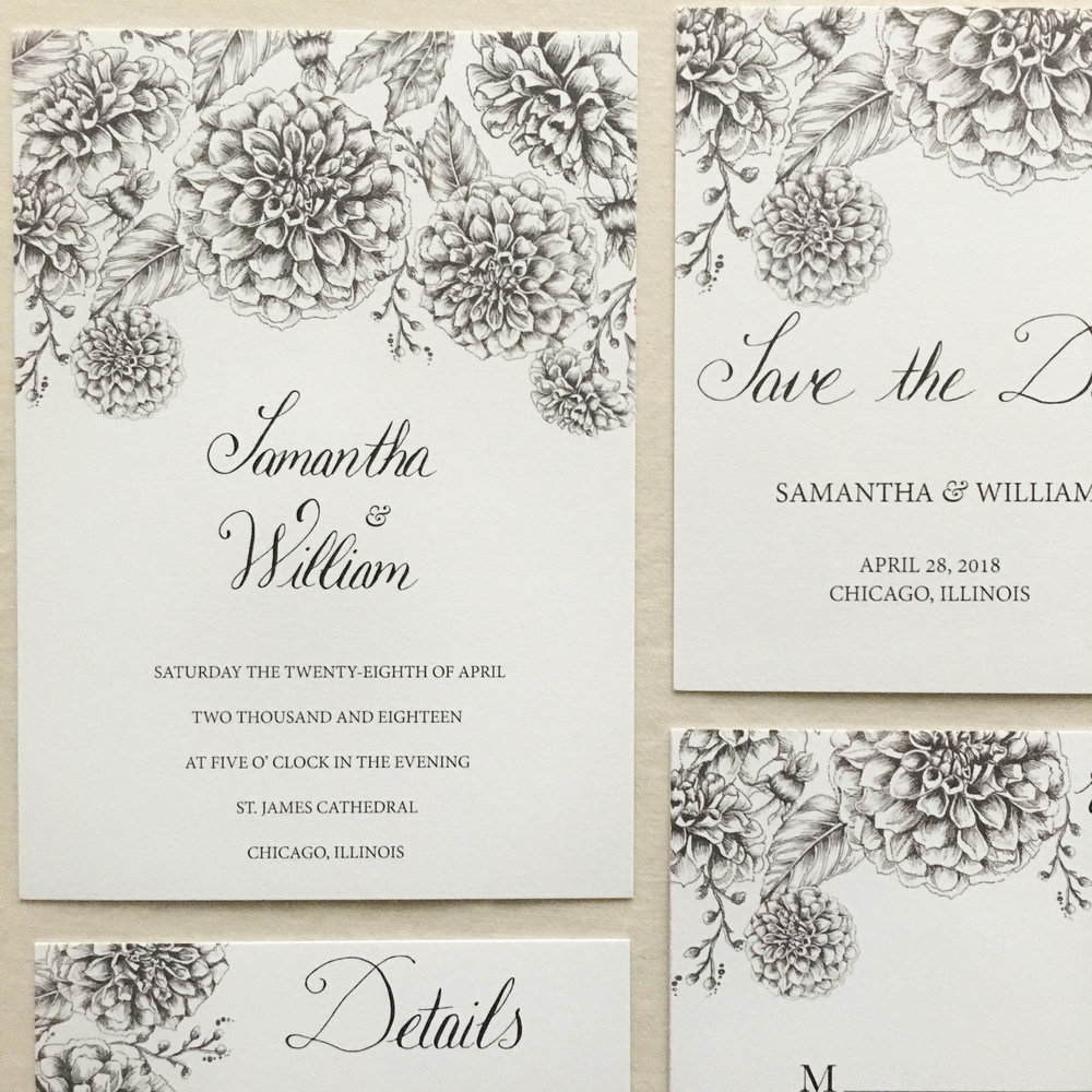 Janice Nelson Made in USA modern and classic wedding stationery with black and white dahlia floral and tendril pen illustration semi-custom watercolor main wedding invitation custom wedding invite