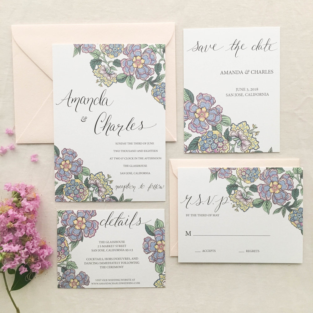 Janice Nelson Made in USA wedding stationery with unique flowers and vine design semi-custom hand painted watercolor gouache wedding invitation custom wedding invite