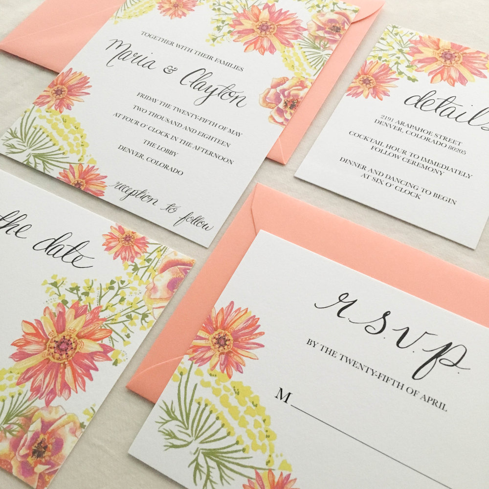 Janice Nelson Made in USA retro vintage wedding stationery with pink daisies, queen anne's lace, garden design semi-custom hand painted watercolor and gouache wedding invitation custom wedding RSVP