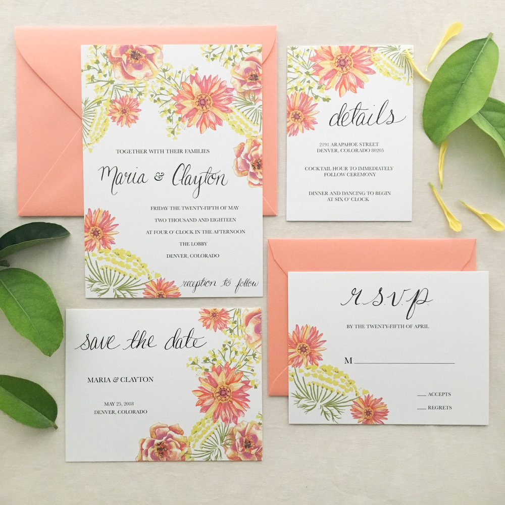 Janice Nelson Made in USA retro vintage wedding stationery with pink daisies, queen anne's lace, garden design semi-custom hand painted watercolor and gouache wedding invitation custom wedding invite