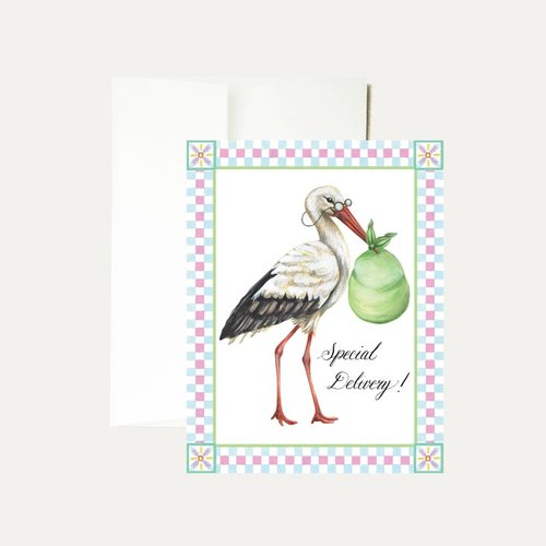 janice nelson designs stork baby greeting card