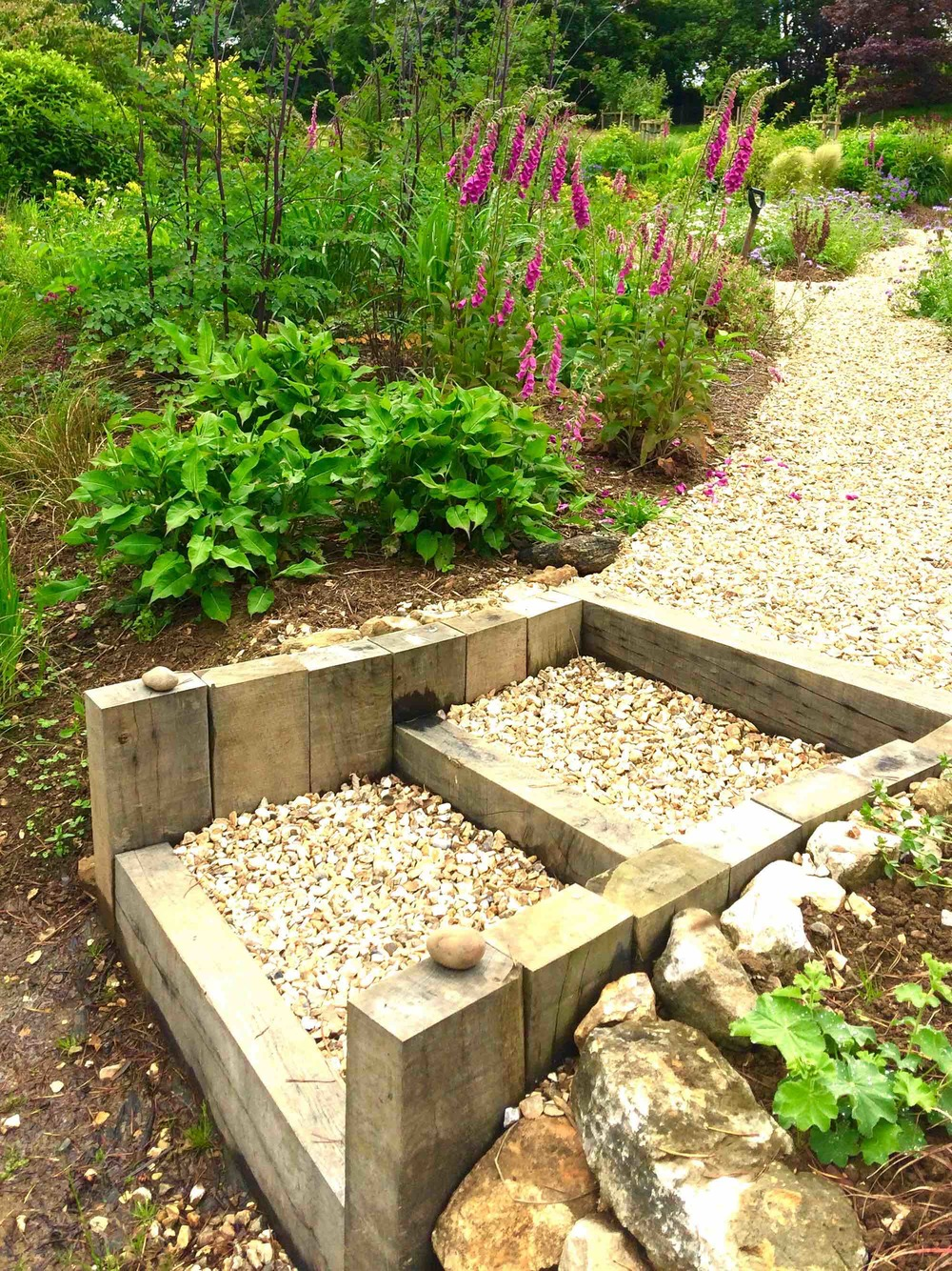 Oak and gravel steps