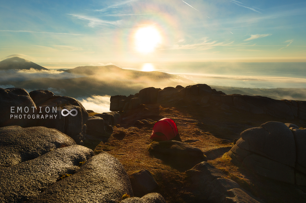 Slieve Binnian Summit Camp at sunrise in the Mourne Mountains, Northern Ireland.