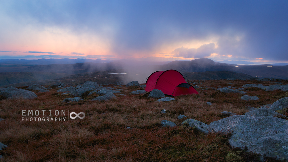 A wild camp in the rugged Derryveagh Mountains, Ireland.