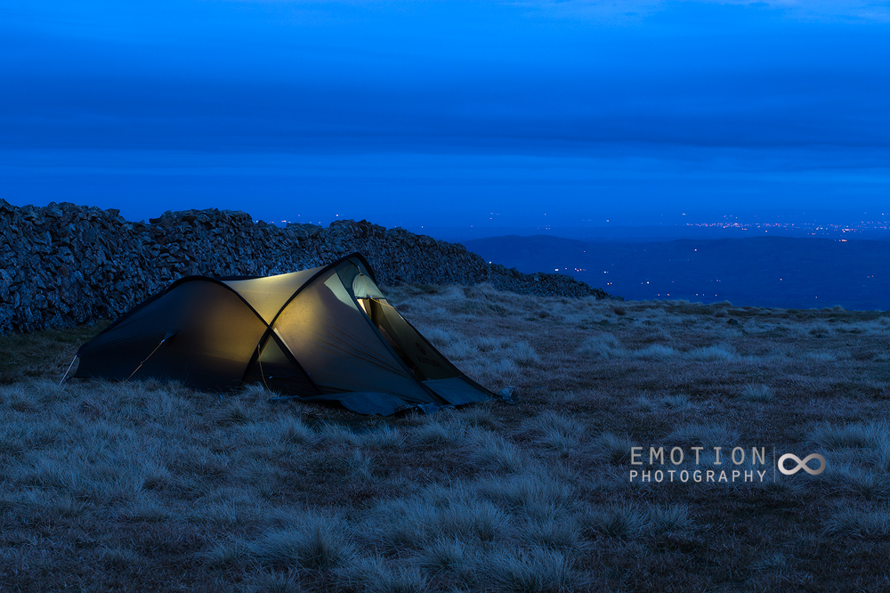 A wild camp pitch next to the famous Mourne Wall in the Mourne Mountains, Northern Ireland.
