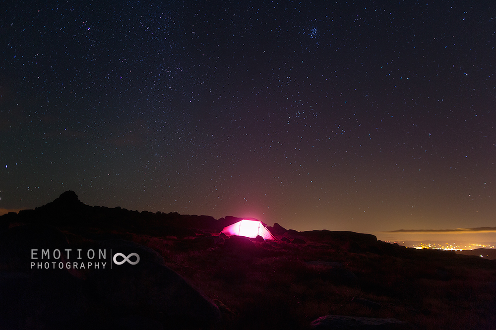 A wild camp in remote Ireland under the night sky.