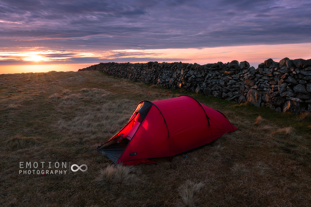 A wild camp at sunrise on Slieve Muck, Northern Ireland.