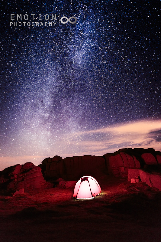 A wild camp on the summit of Slieve Binnian under the milky way.