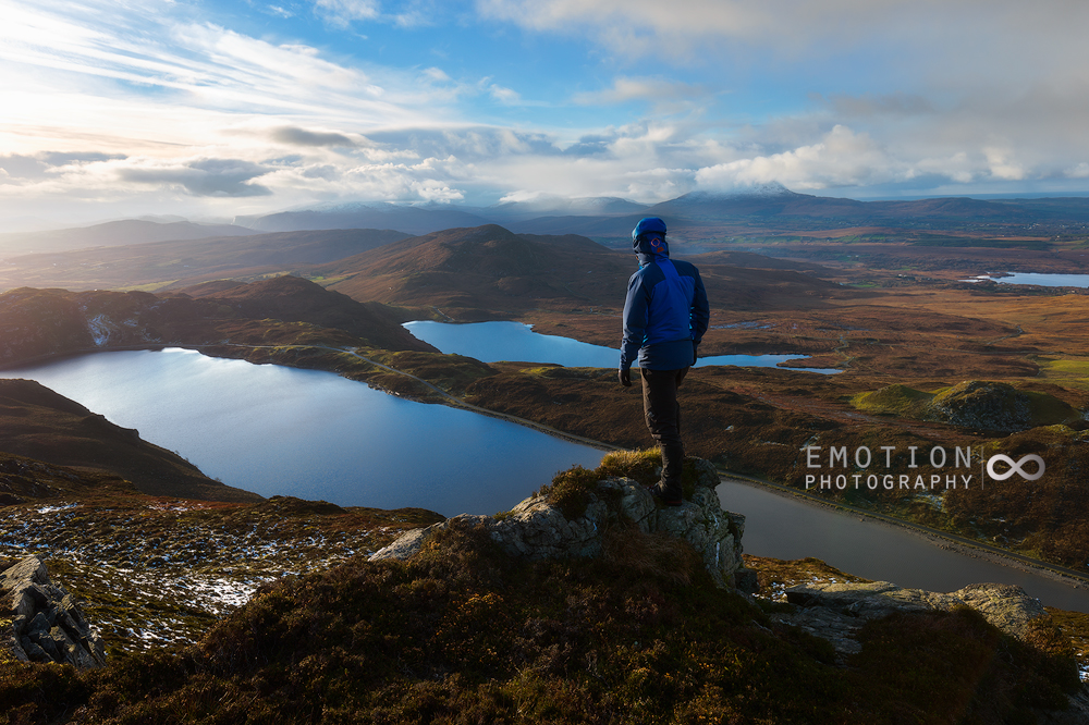 Surveying the mountainous Donegal landscape in winter from Lough Salt Mountain.