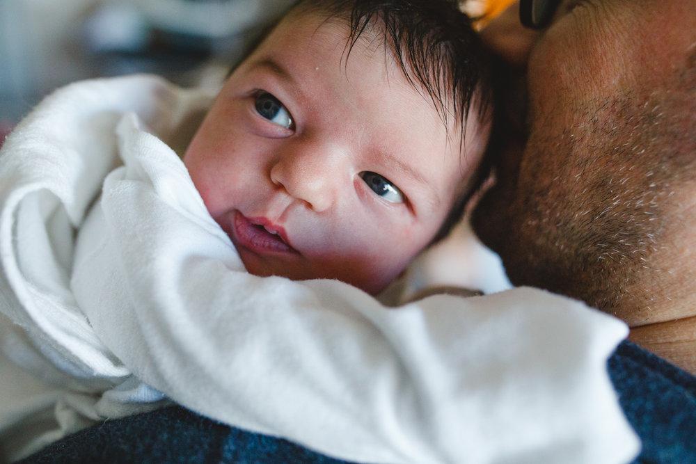 Newborn baby gazing.