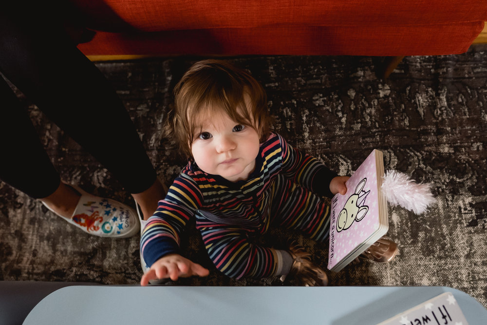 Baby looking up at me. Royal Oak Family Photographer. Detroit.