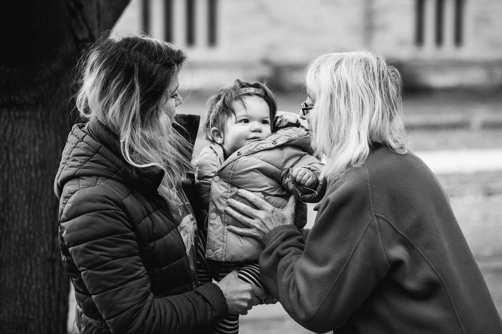 Baby going to Grandma. Royal Oak Family Photographer. Detroit Family Photographer.