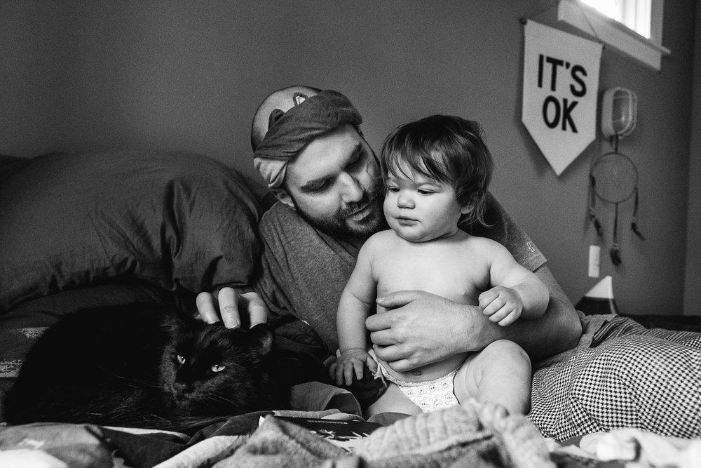 Petting the cat Tim. Royal Oak Family Photographer. Detroit Family Photographer.