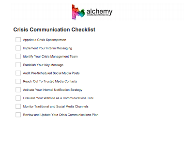 Crisis Communications Checklist