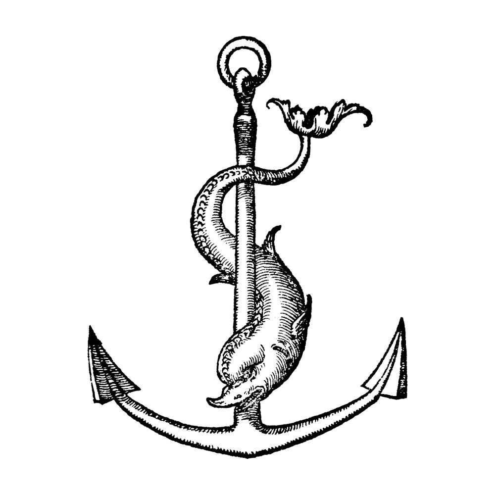 The anchor and dolphin engraving, circa 1541