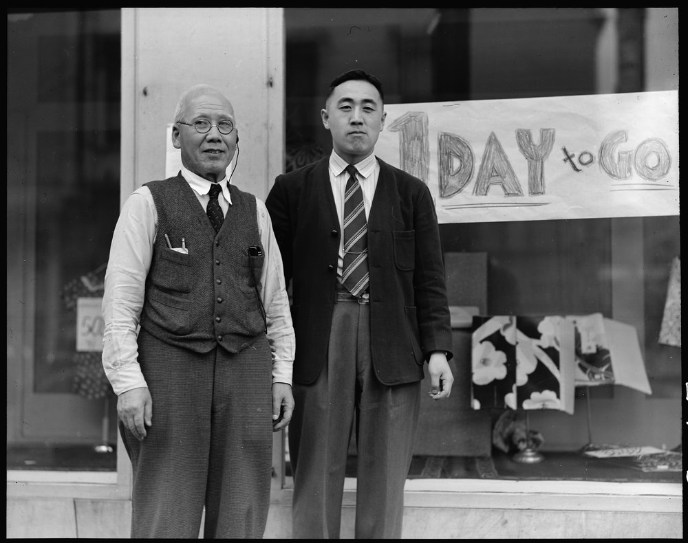 San Francisco, California. Dave Tatsuno and his father, merchants of Japanese ancestry in San Francisco prior to evacuation.