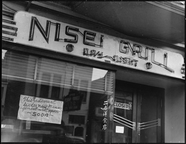 """San Francisco, California. This restaurant, named """"Nisei"""" after second- generation children born in this country to Japanese immigrants was closed prior to evacuation of residents of Japanese ancestry; and, according to sign in the window, was scheduled to re- open under new management. Evacuees will be housed at War Relocation Authority centers for [the] duration."""