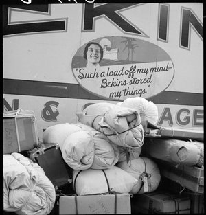 Hayward, California. Baggage of evacuees of Japanese ancestry ready to be loaded on moving van. Evacuees will be housed in War Relocation Authority centers for the duration.