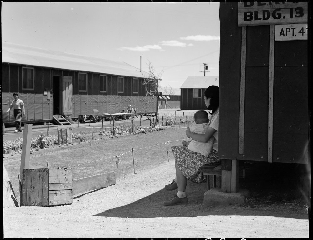 Manzanar Relocation Center, Manzanar, California. Lawns and flowers have been planted by some of th . . .