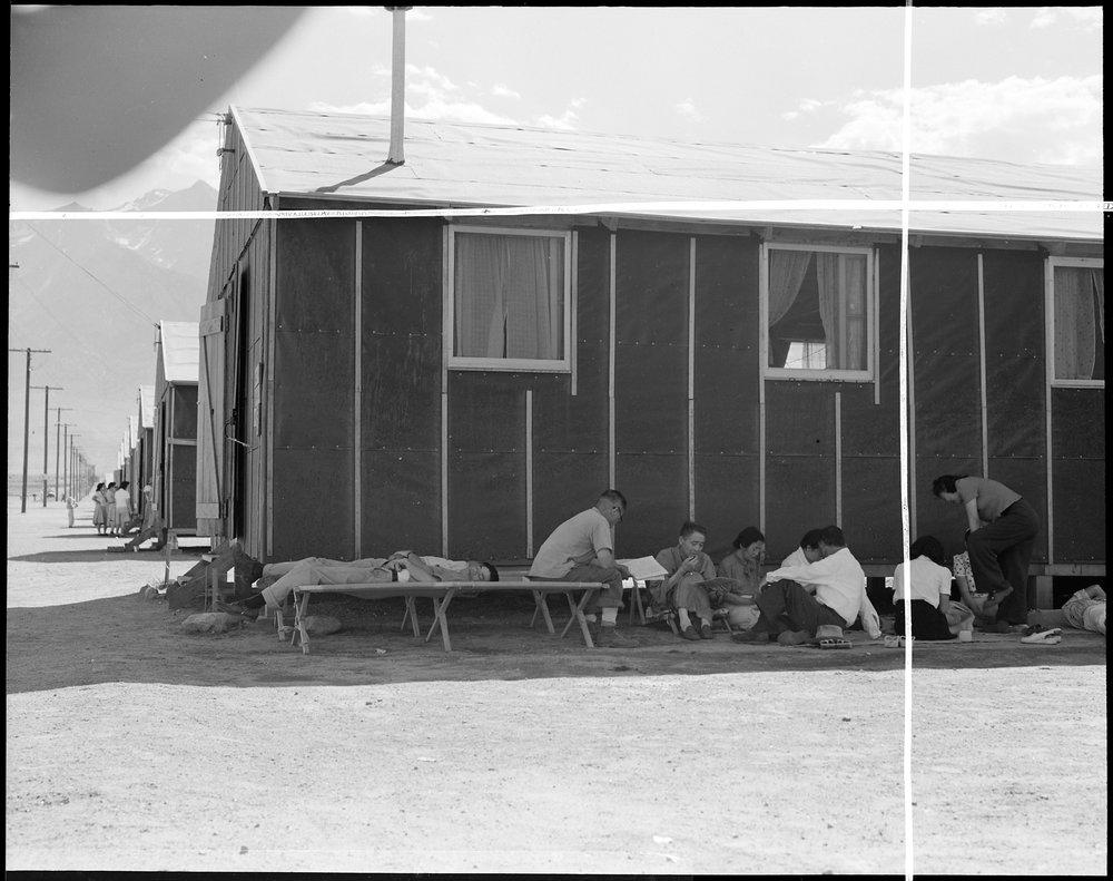 Manzanar Relocation Center, Manzanar, California. Evacuees at this War Relocation Authority center . . .