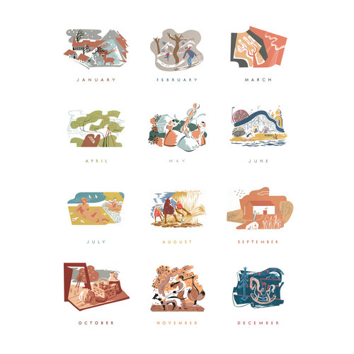 12 month print federal art project calendar anchor editions