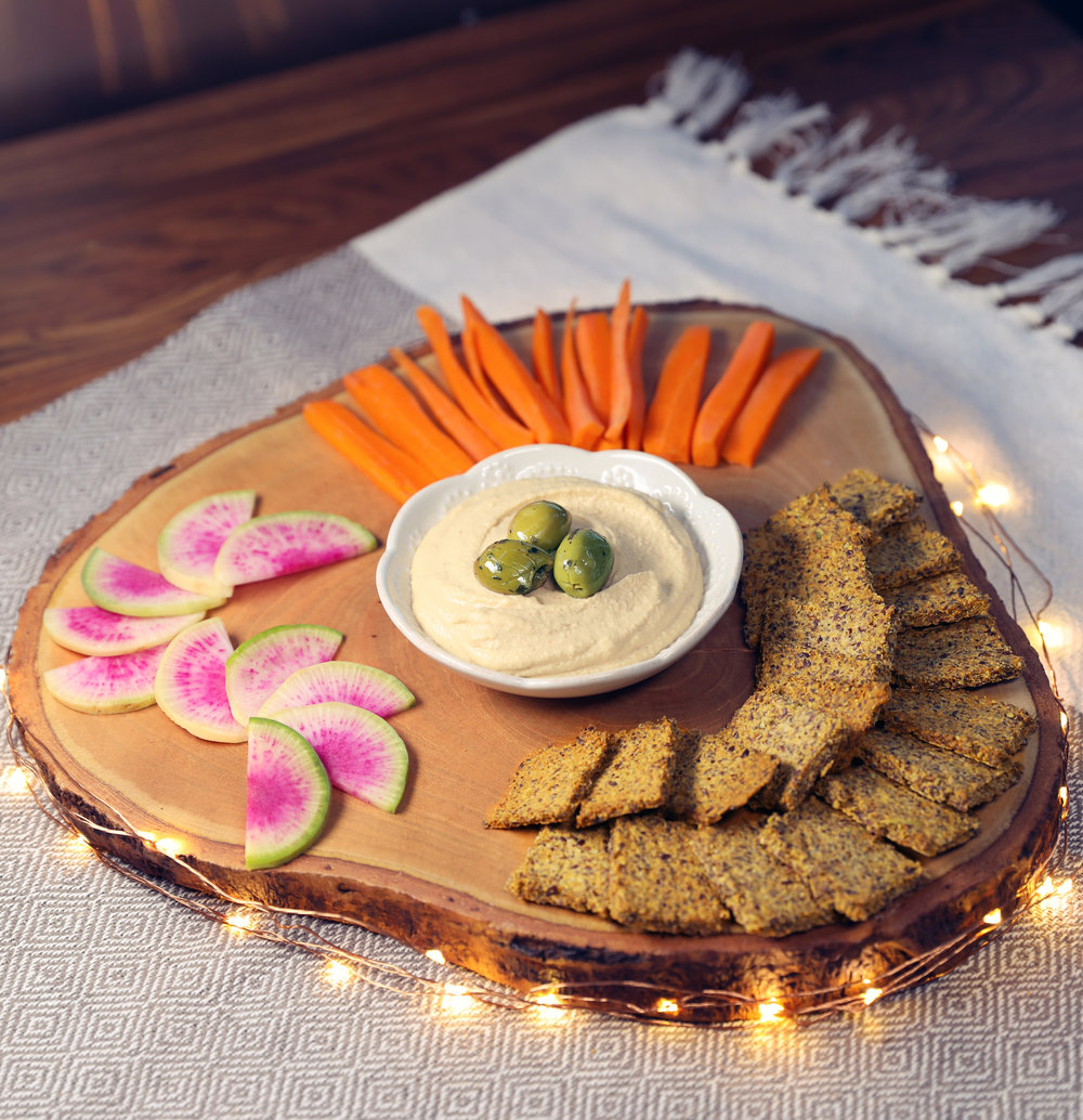 Flax Crackers & Green Olive Hummus