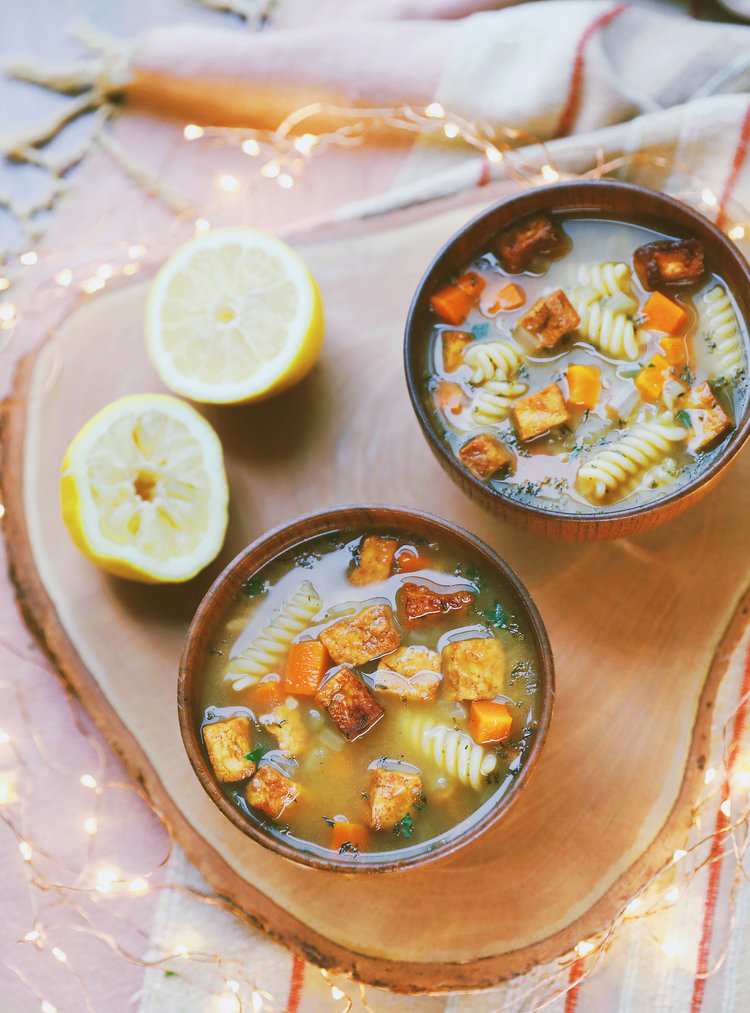 Tofu No Chicken Noodle Soup With Lemon Black Pepper Vegan Oil