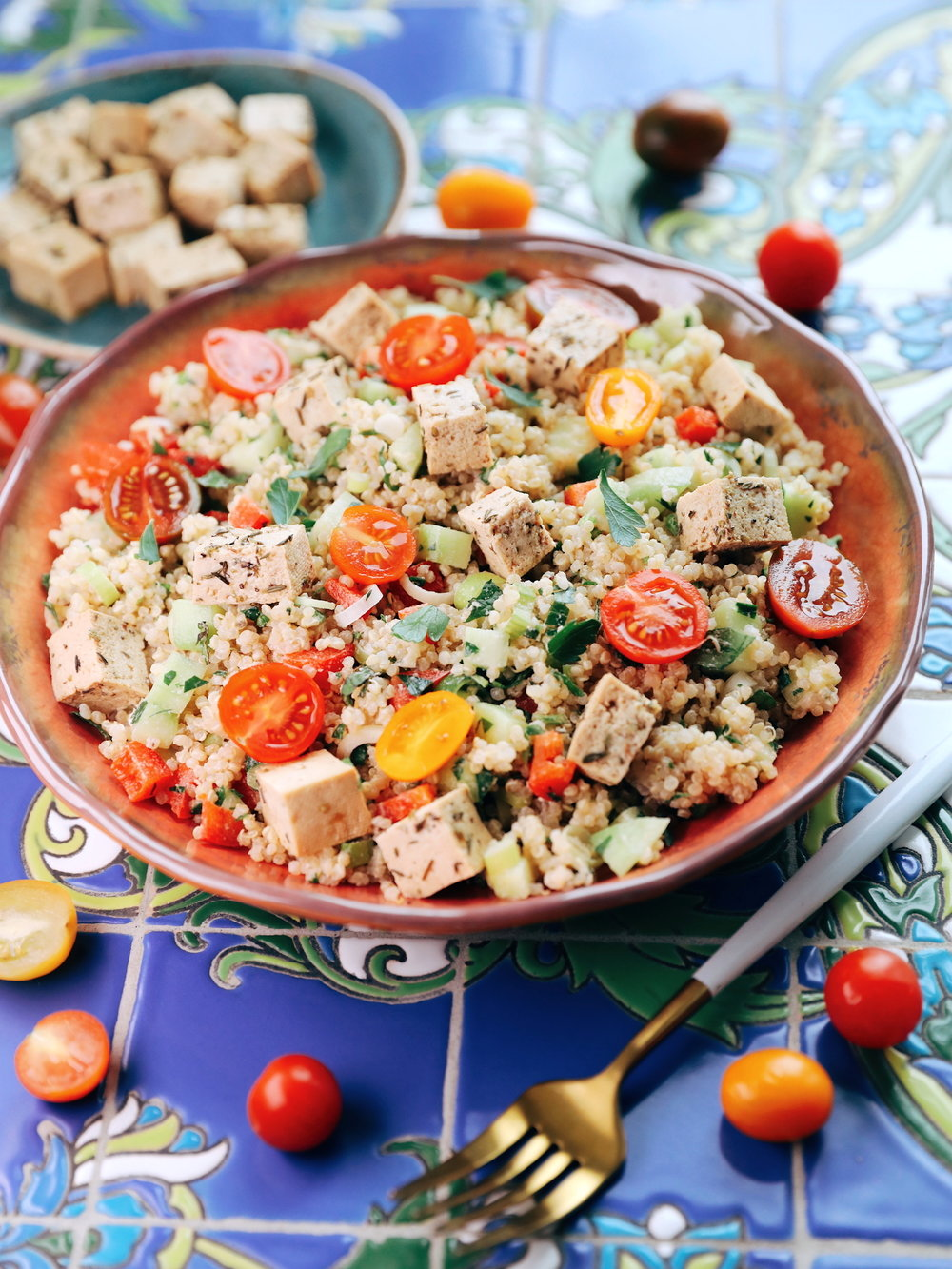 Roasted Garlic Quinoa Tabbouleh with Tofu Feta