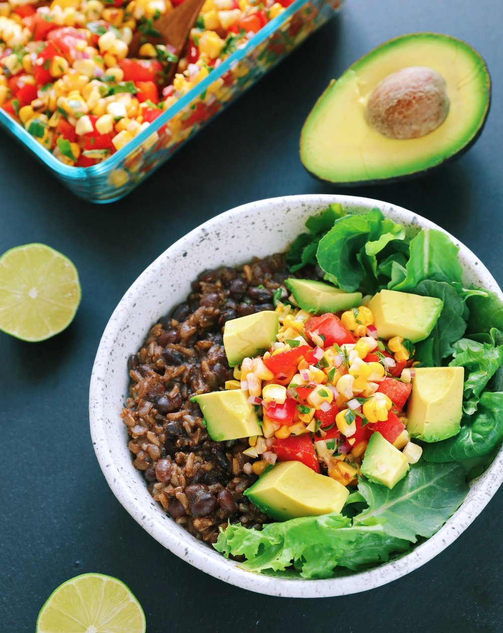 Instant Pot Burrito Bowl with Roasted Corn Salsa