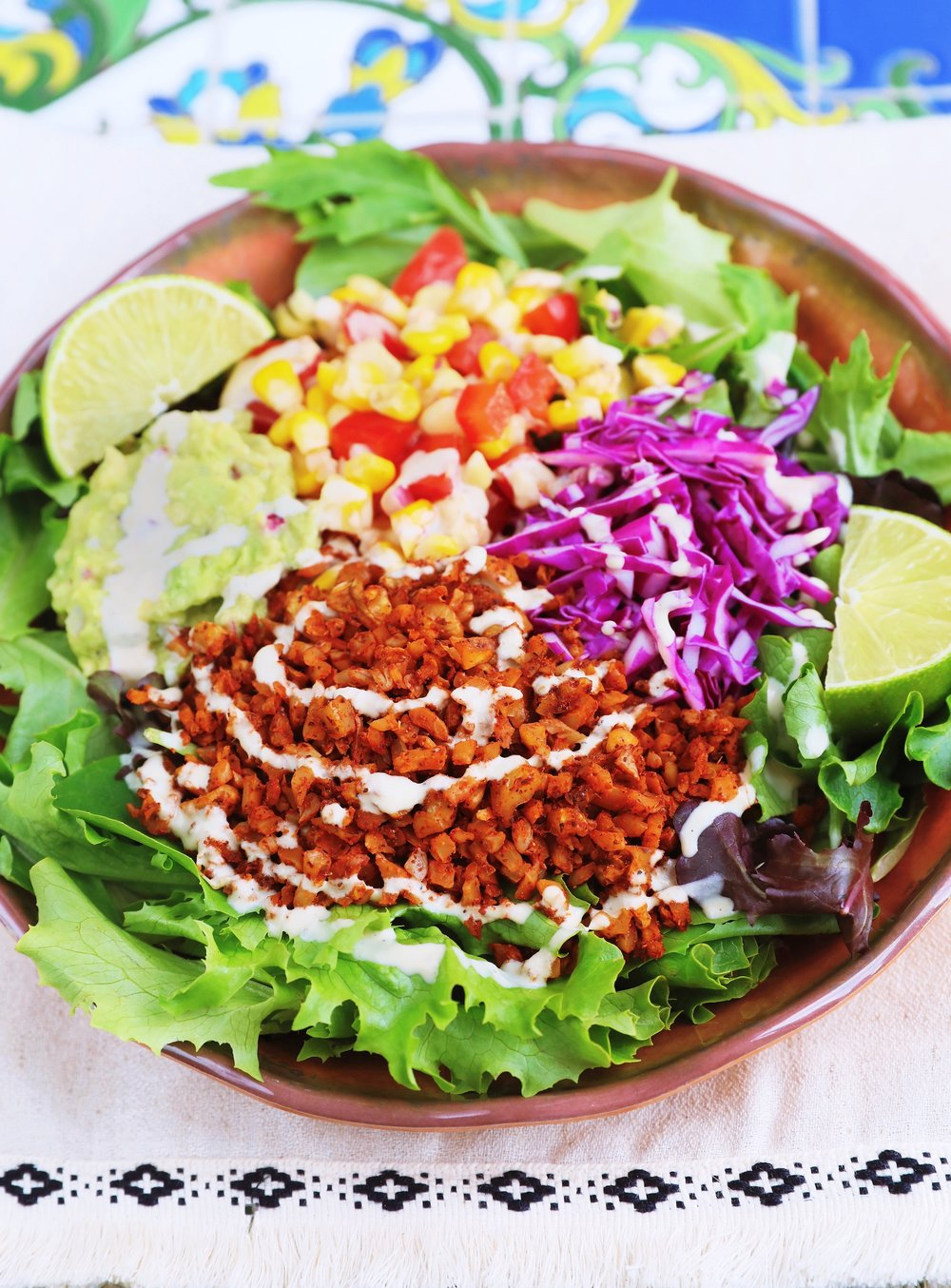 "Taco Salad with Walnut & Cauliflower ""Meat"" Crumbles"