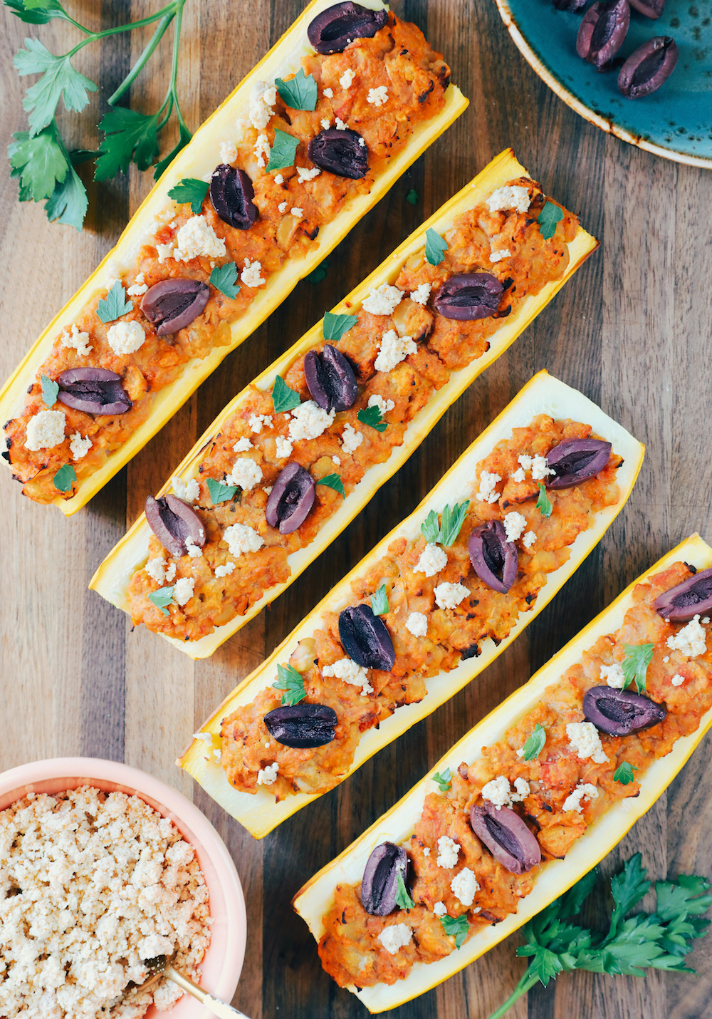 Mediterranean Squash Boats With Smashed Chickpeas & Almond Cheese Crumbles