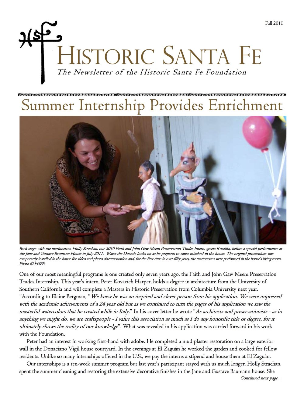 HSFFPrintedNewsletterFall2011Cover.jpg