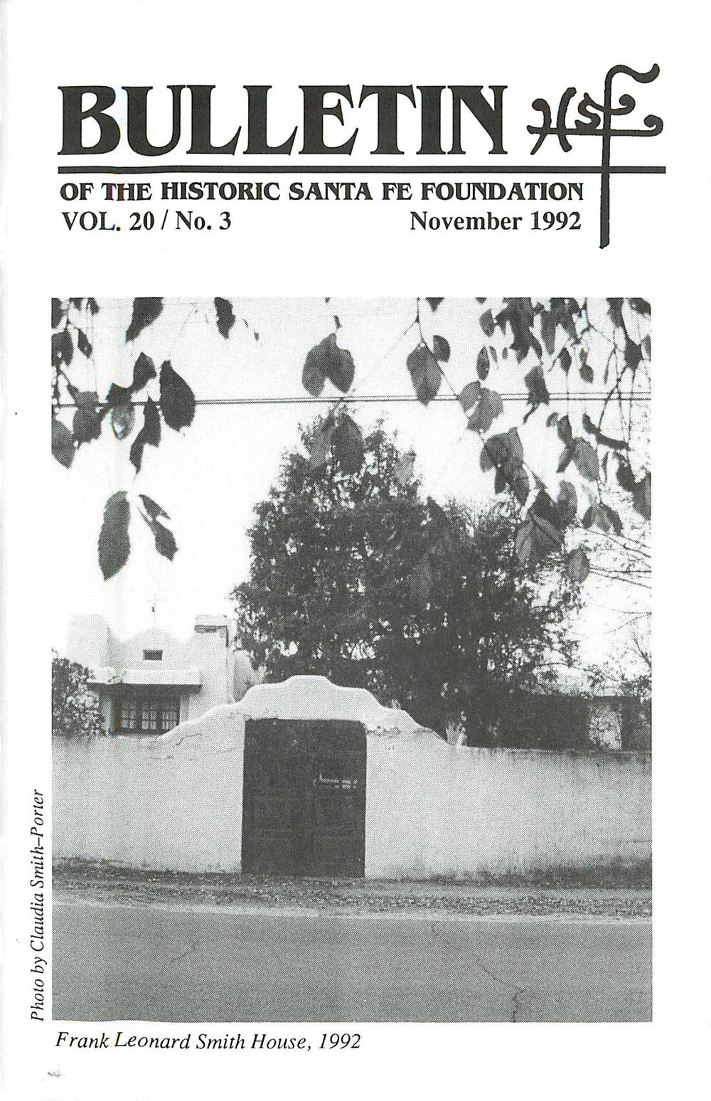 1992 HSFF Bulletin Vol.20 No.3 Cover