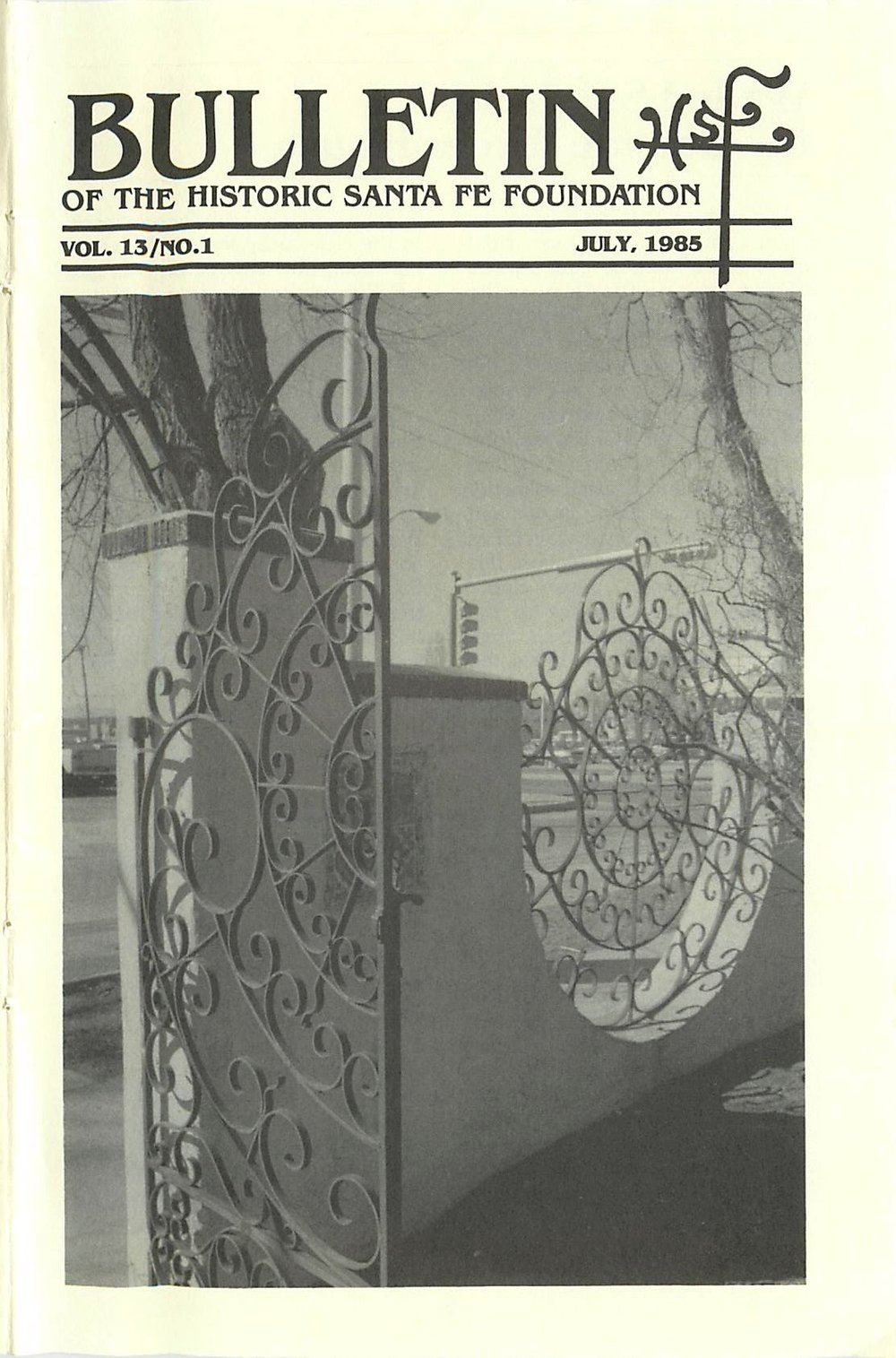 1985 HSFF Bulletin Vol.13 No.1 Cover