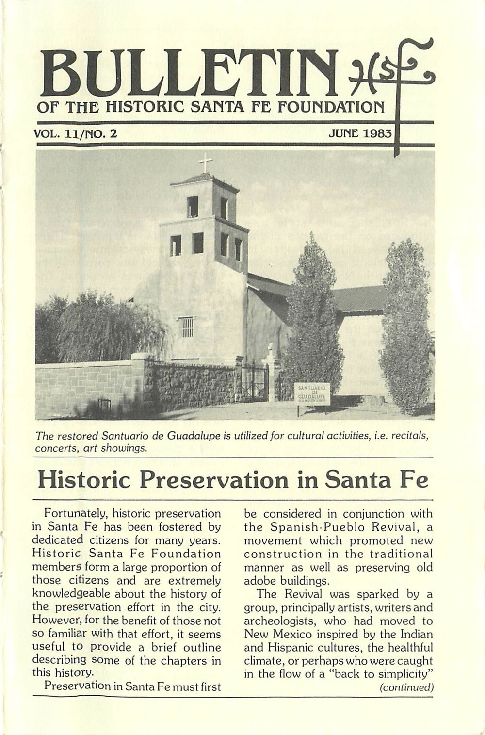 1983 HSFF Bulletin Vol.11 No.2 Cover