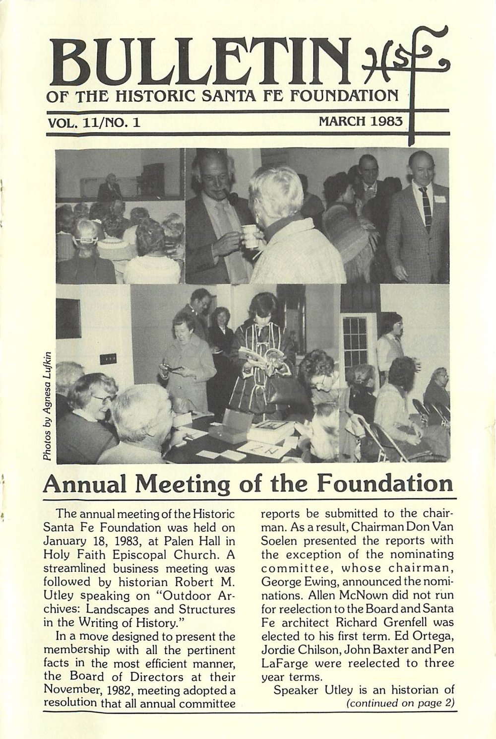 1983 HSFF Bulletin Vol.11 No.1 Cover