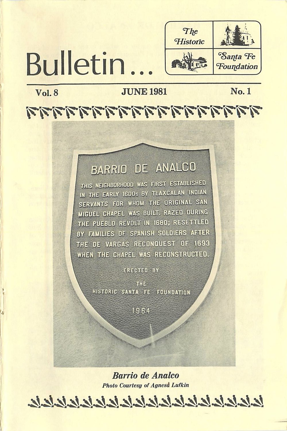 1981 HSFF Bulletin Vol.8 No.1 Cover