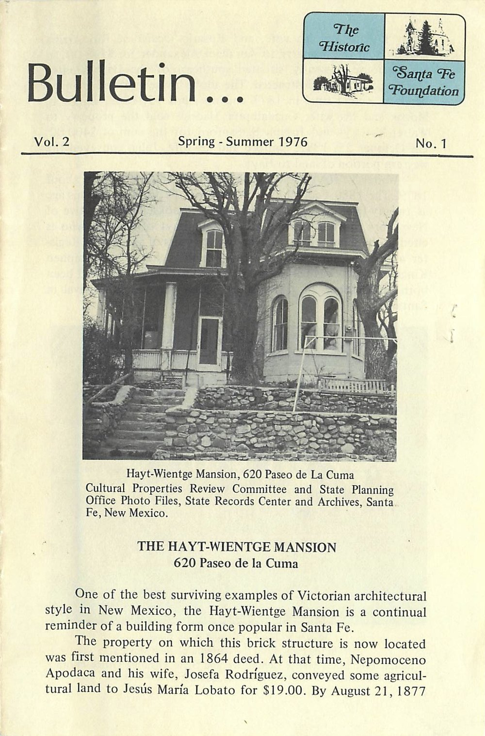 1976 HSFF Bulletin Vol.2 No.1 Cover