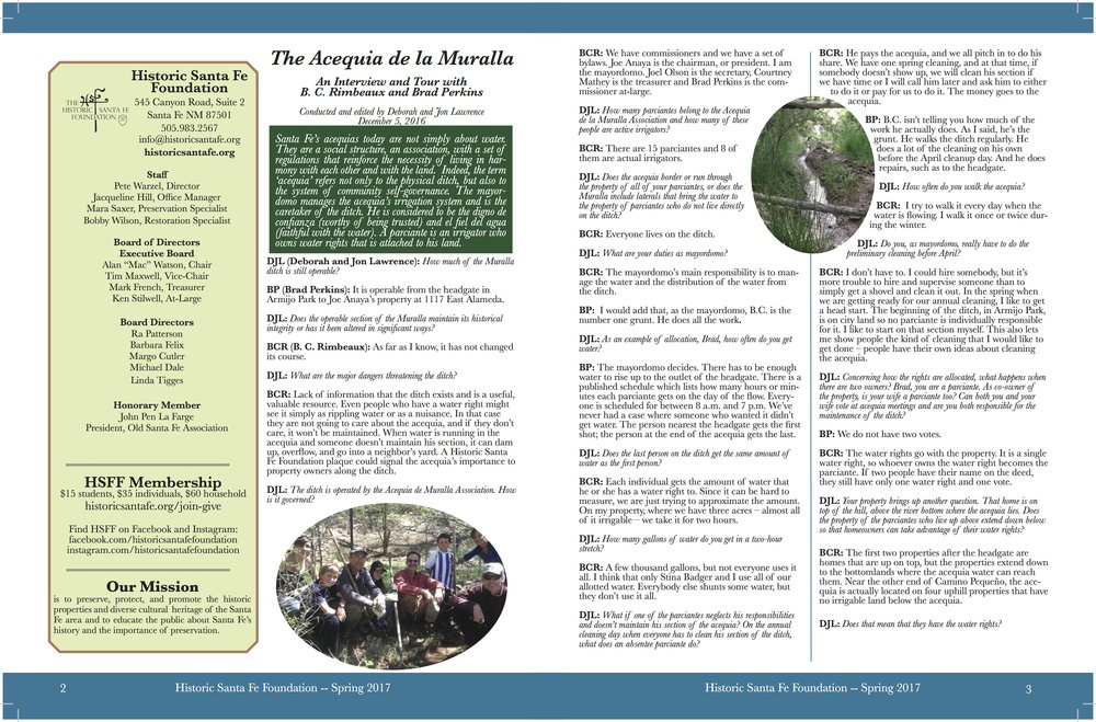 Interview from the HSFF Spring 2017 Printed Newsletter on Acequia Murella by Deborah and jon Lawrence with brad perkins and b.c. Rimbeaux. Acequia Murella will be plaqued in 2018.