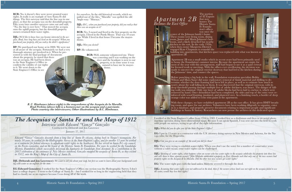 Continued: Interview from the HSFF Spring 2017 Printed Newsletter on Acequia Murella by Deborah and jon Lawrence with brad perkins and b.c. Rimbeaux. Acequia Murella will be plaqued in 2018.