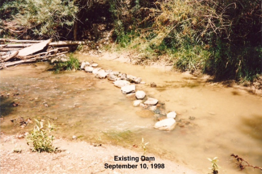 The acequia diversion prior to the addition of the new headgate.   photo by Martin Kuziel